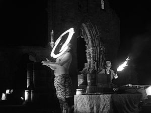 Fire eater at Whitby Abbey