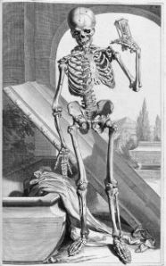 Skeleton images were often used in the shows. Artist: Govard Bidloo.