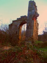 Starlight Castle, Holywell Dene, Northumberland.  Built in a day for a wager.