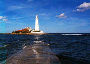 St Mary's Island with tide coming in.  Image by Jim Blakeley.