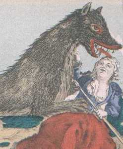Woman fighting off the Beast of Gevaudan, Public Domain, via wikimedia