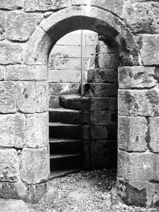 HC spiral stairs central tower bw