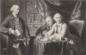 George Selwyn, (standing), and friends by Henry Graves