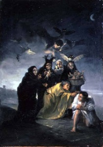 XIR109478 The Witches' Sabbath (oil on canvas) by Goya y Lucientes, Francisco Jose de (1746-1828) oil on canvas Museo Lazaro Galdiano, Madrid, Spain Giraudon Spanish, out of copyright