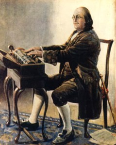 Benjamin Franklin at his Armonica.  Artist unknown, source