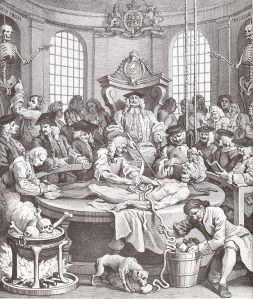 18C anatomy lesson, image by Hogarth, public domain