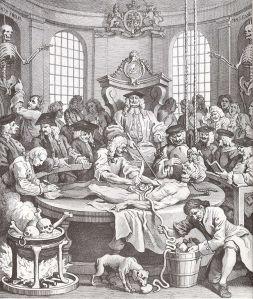 18C anatomy lesson, image by Hogarth, public domain