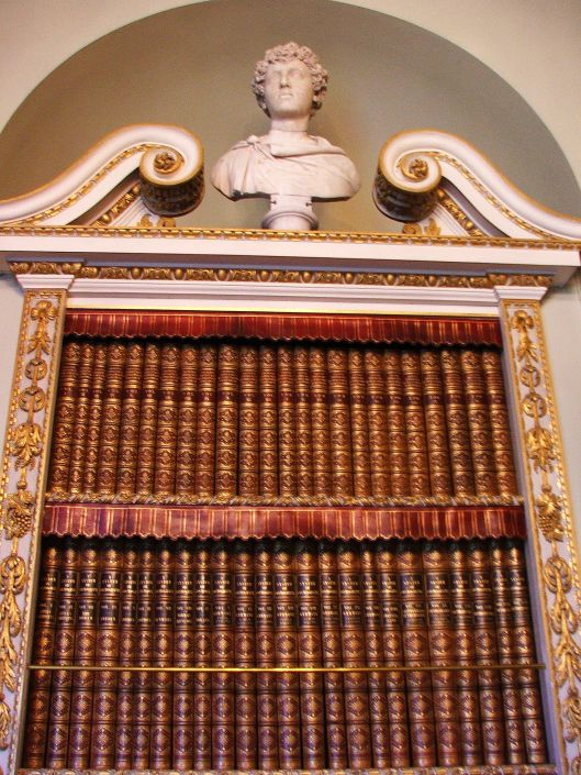 A classical bookcase in one of the Tribunes. Image by Lenora.