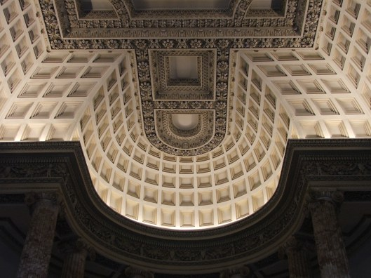 The Marble Hall.  The coffered dome was based by an Inigo Jones design inspired by the Pantheon at Rome.