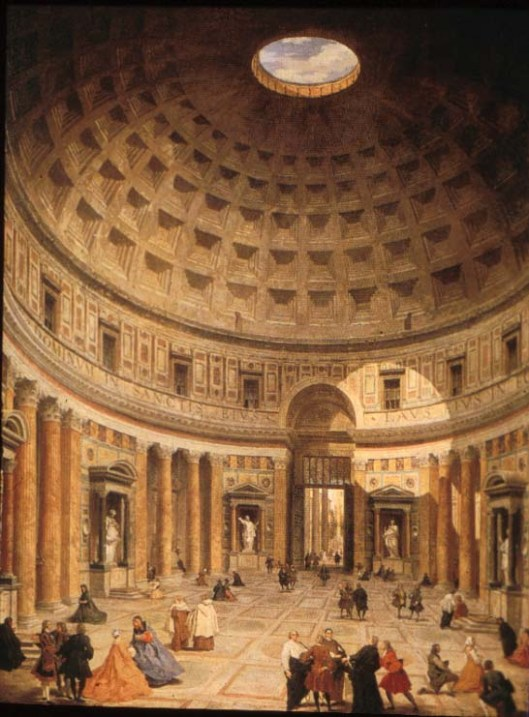 Eighteenth century painting of the interior of the Pantheon in Rome.