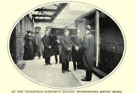 Mourners at the station