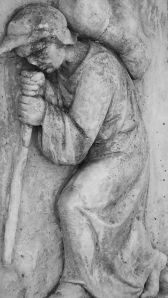 Detail from John Bunyan's tomb - the Pilgrim
