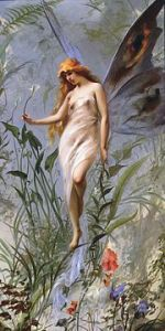 The Victorian ideal of a fairy scantily clad nymphet, still a popular image for the fae today.  Lily 1888.