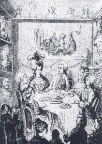 Salon de Cire, Curtius Tableau of the French Royal family at dinner.  Public domain.