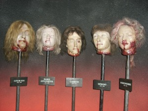 Severed heads of prominent revolutionaries including Robespierre himself. (Image by Rodama1789)