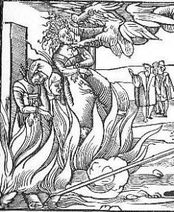 Burning a witch at the stake.  16th Century European Woodcut