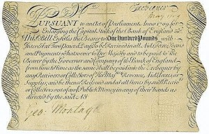 1709 Bank of England Exchequer Bill. Image from Just Collecting website.