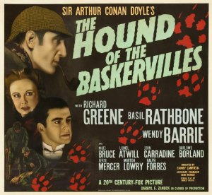 Basil Rathbone in The Hound of the Baskervilles. Image from http://www.basilrathbone.net/films/shhound/