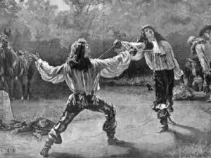 Rakes duelling. Image source uncertain.