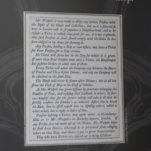Walpole's rules for visitors to Strawberry Hill.