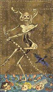 Death from the Medieval Scapini Tarot. Image from SheWalksSoftly website.