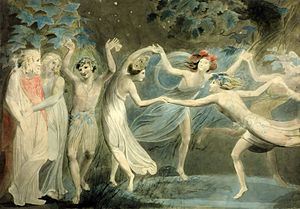 Oberon and Titania by William Blake. Image via Wikimedia.