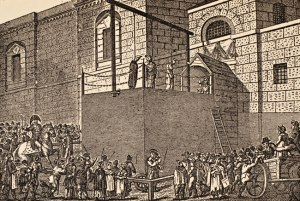 Hanging outside Newgate Prison early 19th century