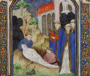 A medieval burial, from a Book of Hours made in Besançon (detail), France, c. 1430–1440, Rare Books Collection, State Library Victoria.